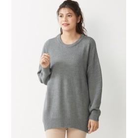毛玉になりにくいゆるシルエットカノコ編ニットチュニック (大きいサイズレディース)plus size tops, 上衣