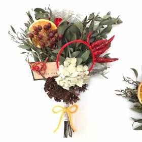【送料無料】 red×orange お正月飾り ドライフラワースワッグ