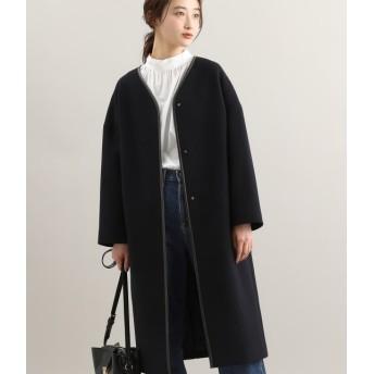 ビス/【WEB限定】二重織りメルトンパイピングコクーンコート/ネイビー/L