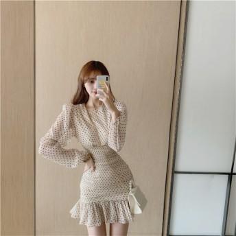 【早秋即納限定SALE!】韓国ファッション 気質 おしゃれな 長袖 小さい新鮮な sweet系 スリム フリル ドット INSスタイル ワンビース