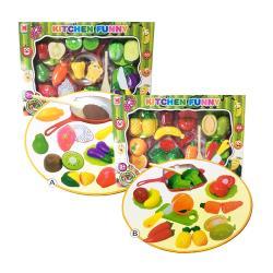哈街 扮家家酒 綜合蔬菜水果DIY切切樂套裝1274AB-隨機出貨