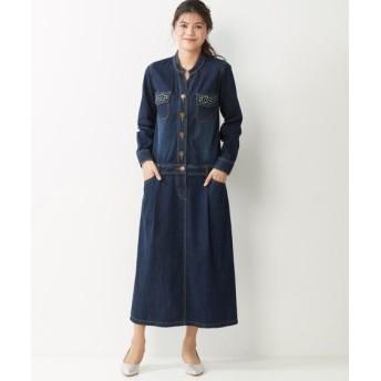 綿100%デニムロングワンピース (大きいサイズレディース)ワンピース, plus size dress, 衣裙, 連衣裙