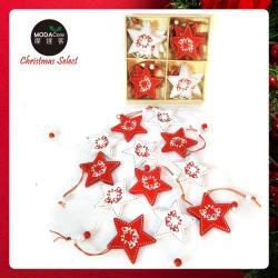 摩達客 木質彩繪聖誕吊飾(紅白星星系)-24入(12入*2盒裝)