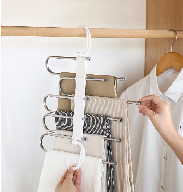 省空間收納架 同時可收納五條褲子~折疊款晾衣架 平衡不傾倒