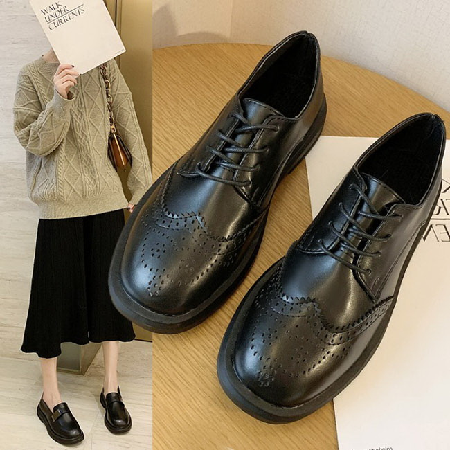 FOFU-小皮鞋學院風英倫小皮鞋雕花復古皮鞋【02S11740】