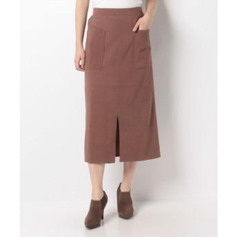 Melan Cleuge 【Melan Cleuge women】サンディングスエードタイトスカート(ブラウン)【返品不可商品】