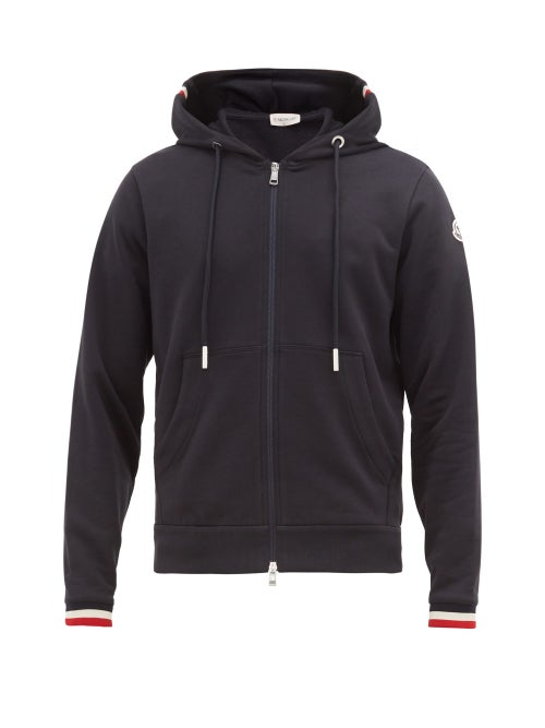 Moncler - Zip-through Cotton Hooded Sweatshirt - Mens - Navy