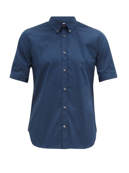 Alexander Mcqueen - Brad Pitt Short-sleeve Poplin Shirt - Mens - Navy