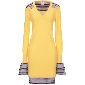 《セール開催中》ULTRA'CHIC レディース ミニワンピース&ドレス イエロー 38 コットン 90% / カシミヤ 10%