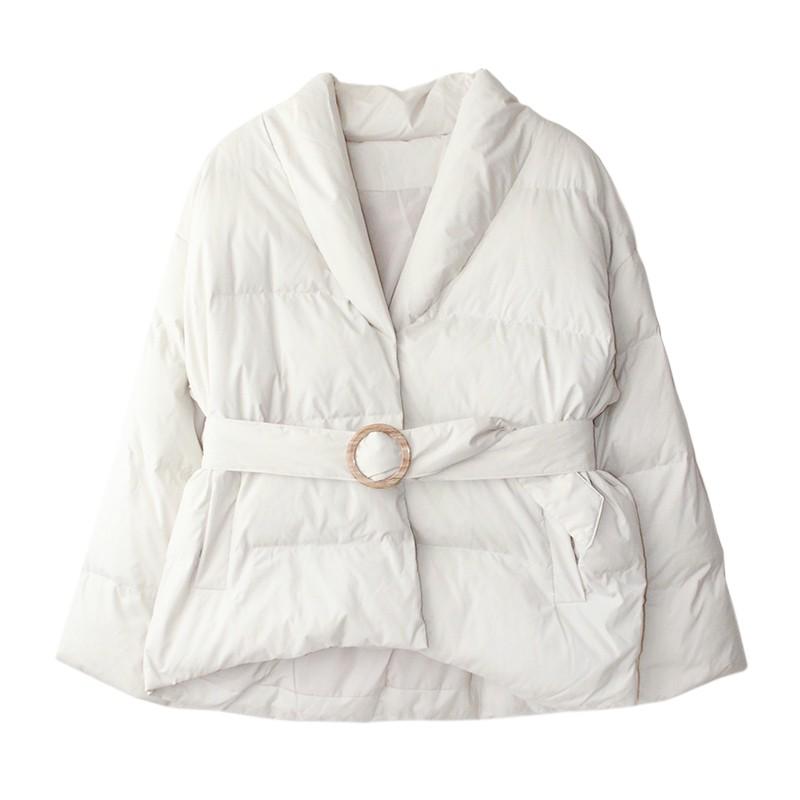 Tamally Maak新款冬裝韓版面包款寬松保暖腰帶百搭顯瘦羽絨服