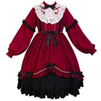 【姫洋服】 洋服 レディース Lolita ロリータ 秋冬 蝶結び プリンセスドレス 姫式 可愛い 赤 S