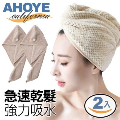AHOYE 韓系乾髮帽 擦頭毛巾 2入組