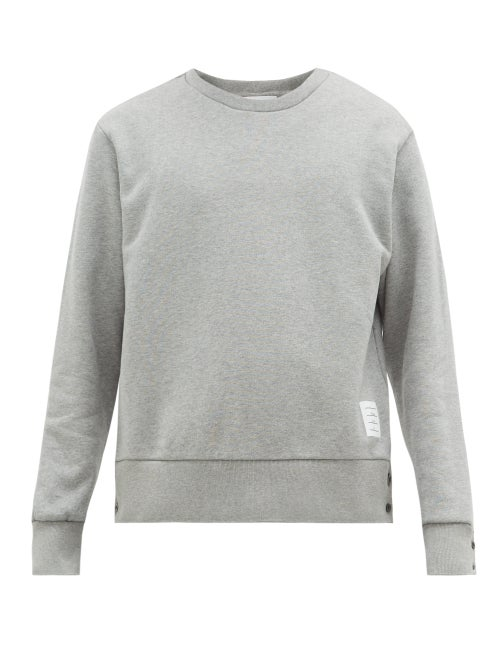 Thom Browne - Tricolor-jacquard Cotton-jersey Sweatshirt - Mens - Light Grey