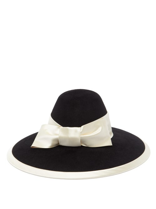 Gucci - Aurora Satin Bow-trimmed Felt Hat - Womens - Black White