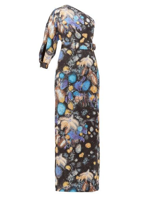 Peter Pilotto - Celestial Floral-print One-shoulder Satin Gown - Womens - Black Blue