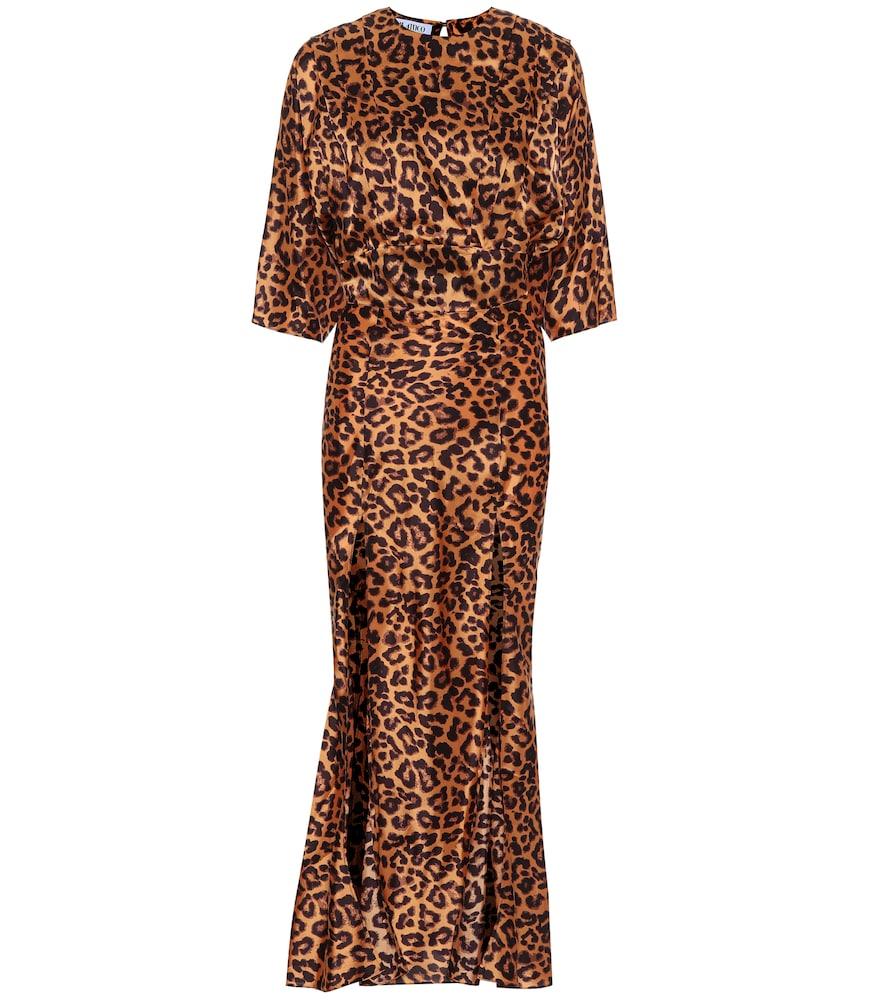 Leopard-print crêpe maxi dress