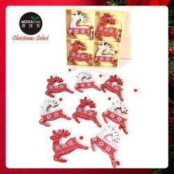 摩達客 木質彩繪聖誕吊飾-紅白麋鹿系-16入(8入*2盒裝)