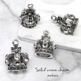 4個入)antique silver solid crown charm