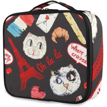 NR化粧ポーチトラベルポーチ大容量機能的トイレタリーバッグかわいい人気化粧道具トイレタリー収納袋、落書きシームレスパターン子猫エッフェル塔、出張旅行用バス用品メイクボックス