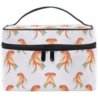 オレンジフィッシュ化粧品袋オーガナイザージッパー化粧バッグポーチトイレタリーケースガールレディース
