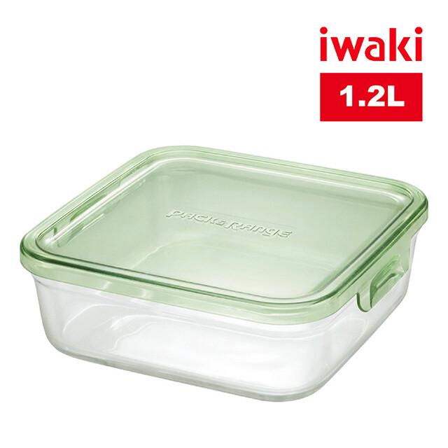 iwaki日本品牌耐熱玻璃微波盒1.2l(綠)