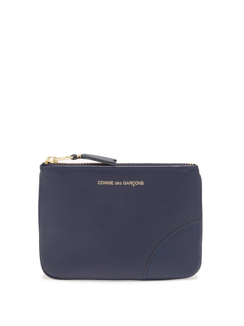 Comme Des Garçons Wallet - Foiled-logo Leather Coin Pouch - Womens - Navy