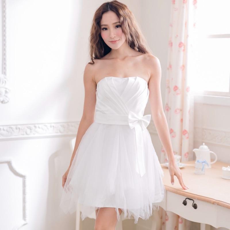 PMQueen白羽夜后洋裝禮服[30022]胸前立體百折緞面蝴蝶結傘擺澎澎洋裝/禮服/伴娘服/大尺碼洋裝
