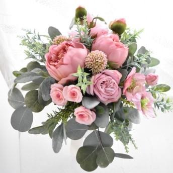 即納OK ヌーディピンクのシャクヤクのナチュラルクラッチブーケ(造花ブーケ)