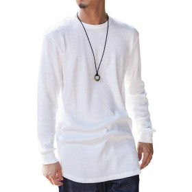 (アドミックス アトリエサブメン) ADMIX ATELIER SAB MEN メンズ Tシャツ TC サーマル (ワッフル) / トール ロング丈 ロングスリーブ Tシャツ (クルーネック) 02-61-9837 50(L) ホワイト
