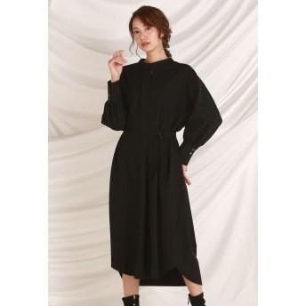 LAUTREAMONT 女性らしいラインのプルオーバーシャツワンピース ワンピース,ブラック