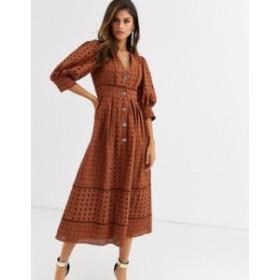 エイソス レディース ワンピース トップス ASOS DESIGN button through broderie midi dress Brown