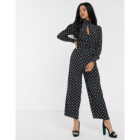 エイソス レディース ワンピース トップス ASOS DESIGN ruched waist detail jumpsuit with split front in polka dot Mono spot