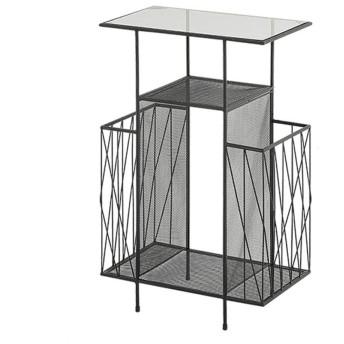 LJH-サイドテーブル ナイトテーブル サイドテーブルコーヒーテーブル金属の創造的ベッドサイドテーブル,リビングルーム寝室廊下家具 (Color : Black)