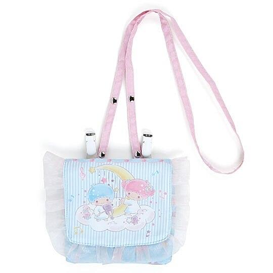 〔小禮堂〕雙子星 兒童尼龍蕾絲夾式口袋包《藍白》腰包.斜背包.零錢包.雲朵音符系列 4901610-88695