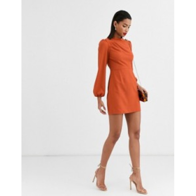 エイソス レディース ワンピース トップス ASOS DESIGN high neck mini dress with long sleeves Rust