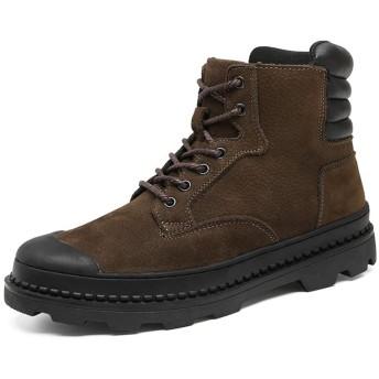 [CHIIKA] ワークブーツ メンズ 登山靴 スノーブーツ マーティンブーツ ハイカット 牛革 本革 編み上げ クッション性 厚底 滑り止め クッション性 履き心地よく コンフォート 外履き 冬 裏起毛選択可 ブラウン