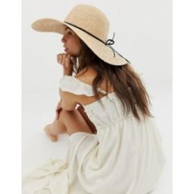 エイソス レディース 帽子 アクセサリー ASOS DESIGN natural straw floppy hat with braid braid and size adjuster Natural