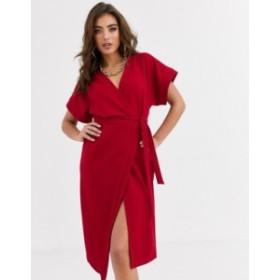 エイソス レディース ワンピース トップス ASOS DESIGN wrap midi dress Red