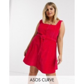 エイソス レディース ワンピース トップス ASOS DESIGN Curve cord sleeveless skater dress in raspberry Raspberry