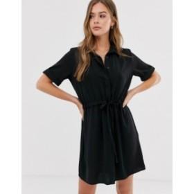 ニュールック レディース ワンピース トップス New Look tie waist detail shirt dress in black Black