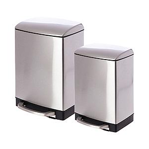 (組)蘿拉方形緩降金屬垃圾桶6L+12L不鏽鋼