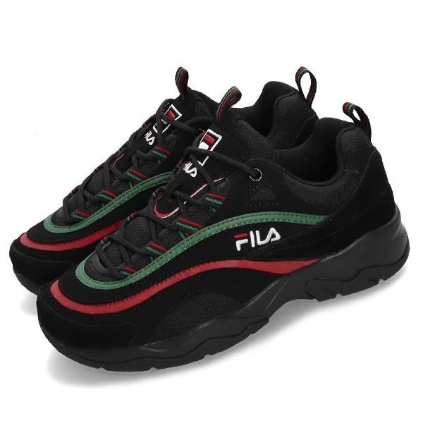 FILA【4C101T362】RAY 復古老爹鞋 休閒鞋 黑綠紅 Gucci配色 女生尺寸 韓國
