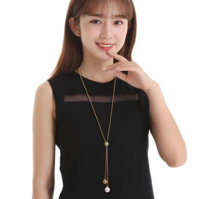 韓國 細緻的女人 珍珠Y型轉輪長項鍊金色