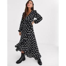 ニュールック レディース ワンピース トップス New Look long sleeve large spot midi dress in black polka dot Black pattern