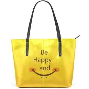 微笑む 嬉しい イエロー レディーストートバッグ レザー 通勤通学 旅行 ショピング ビジネス 大容量 軽量 ファション A4対応 持ちやすい 快適
