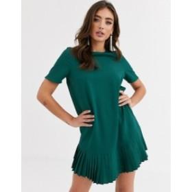 エイソス レディース ワンピース トップス ASOS DESIGN sheer shift mini dress with pleated hem Forest green