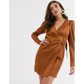 エイソス レディース ワンピース トップス ASOS DESIGN satin wrap mini dress with buckle Rust