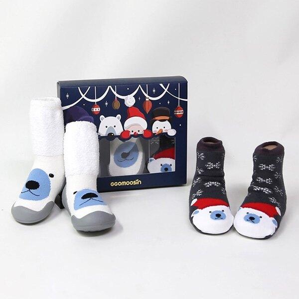 GGOMOOSIN 聖誕系列 小白熊學步鞋+嬰兒襪/襪鞋