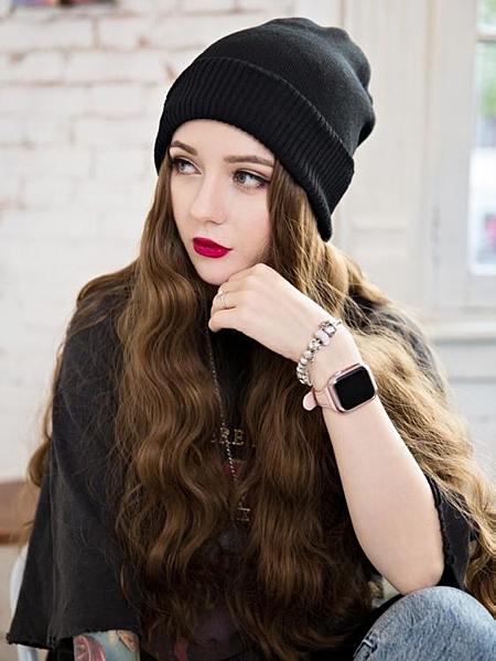 毛線帽子帶假發一體女秋冬天款長發水波紋網紅時尚長卷發全頭套式  優拓