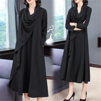 [55555SHOP] 2019新品 大人気 日系女性のバージョン ゆったり大きいサイズ カジュアル プリント長袖 中・長セクション ドレス